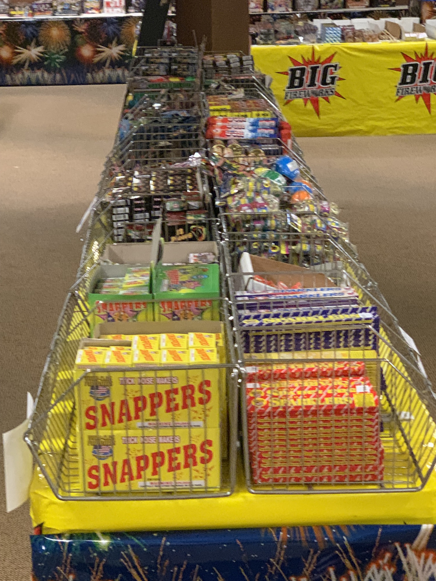 Retail product on the shelves at Indy Fireworks